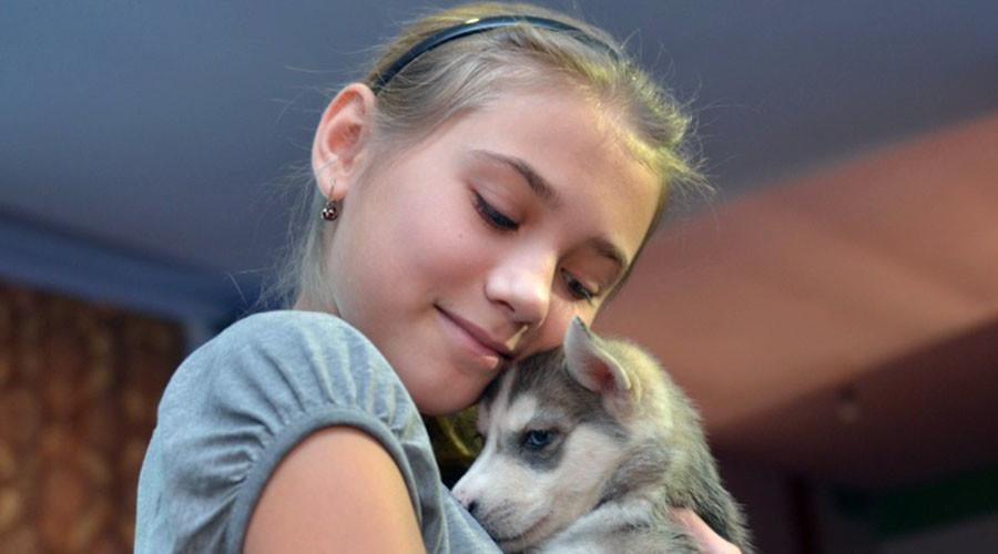 Olga et son chiot Husky