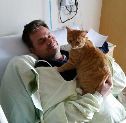 un patient et son chat Zachary's Paws for Healing