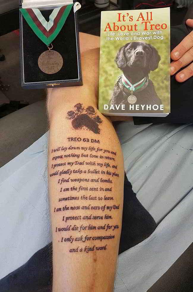 Le tatouage de Dave en hommage à son chien Treo